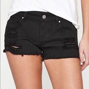 PACSUN Black Distressed Low Rise Shorts